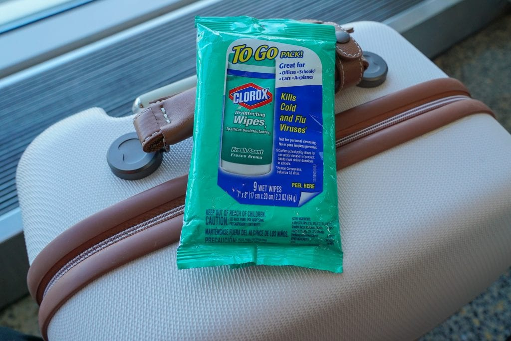 Avoid getting sick while traveling - anti-bacterial wipes