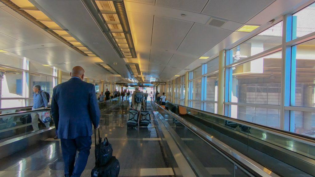 Walking through the airport
