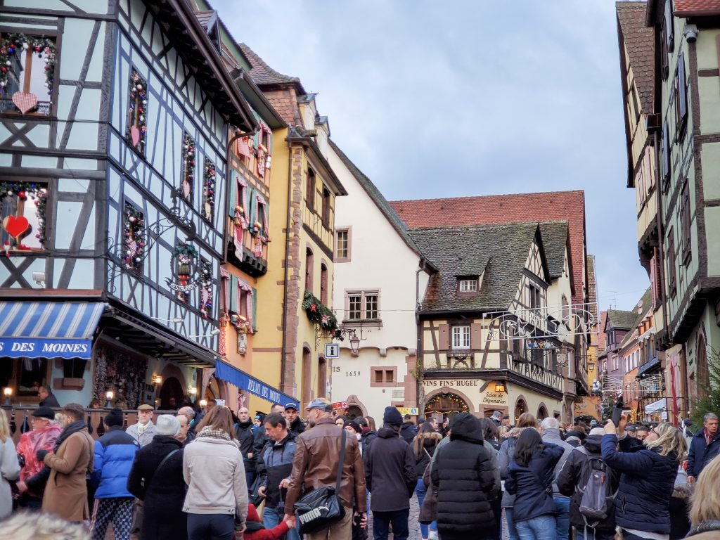 Crowds at Riquewihr Christmas market - France Christmas markets need to know