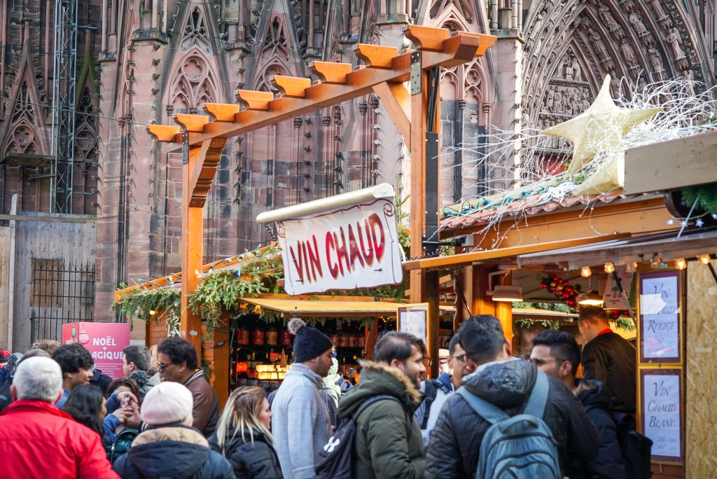 Vin Chaud by Strasbourg Cathedral - France Christmas markets need to know