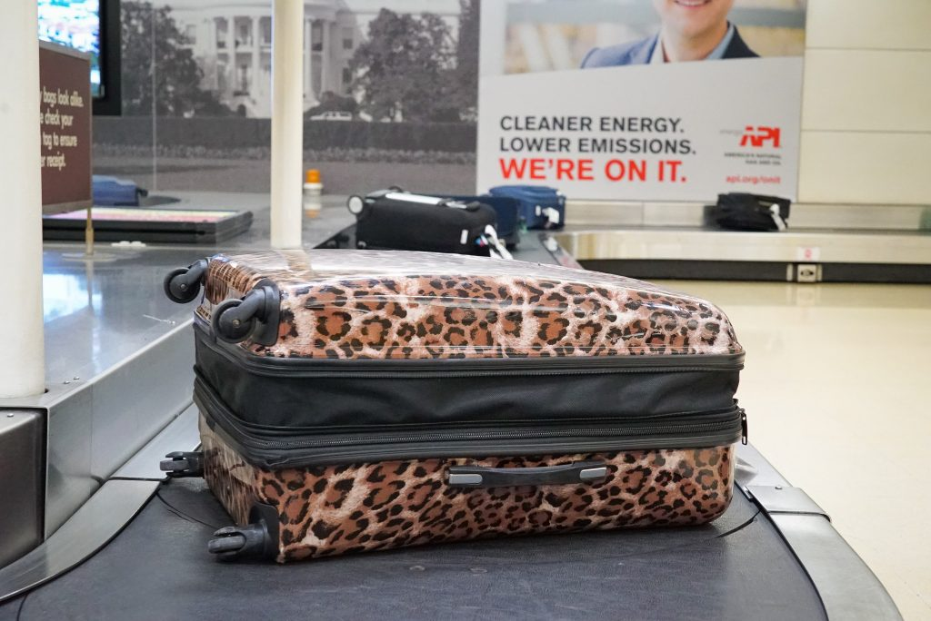 Cheetah print luggage