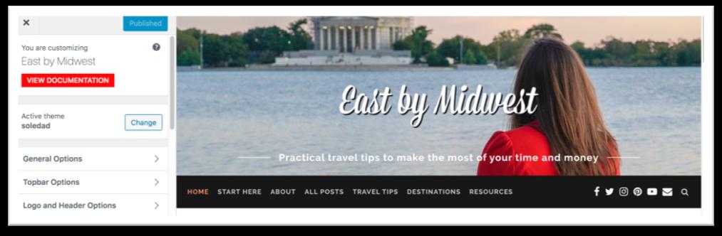 WordPress Customize Theme - Start a Travel Blog