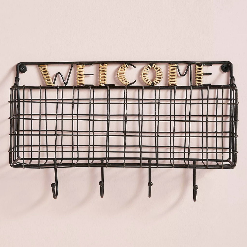 Basket and hook rack - Face mask organizer