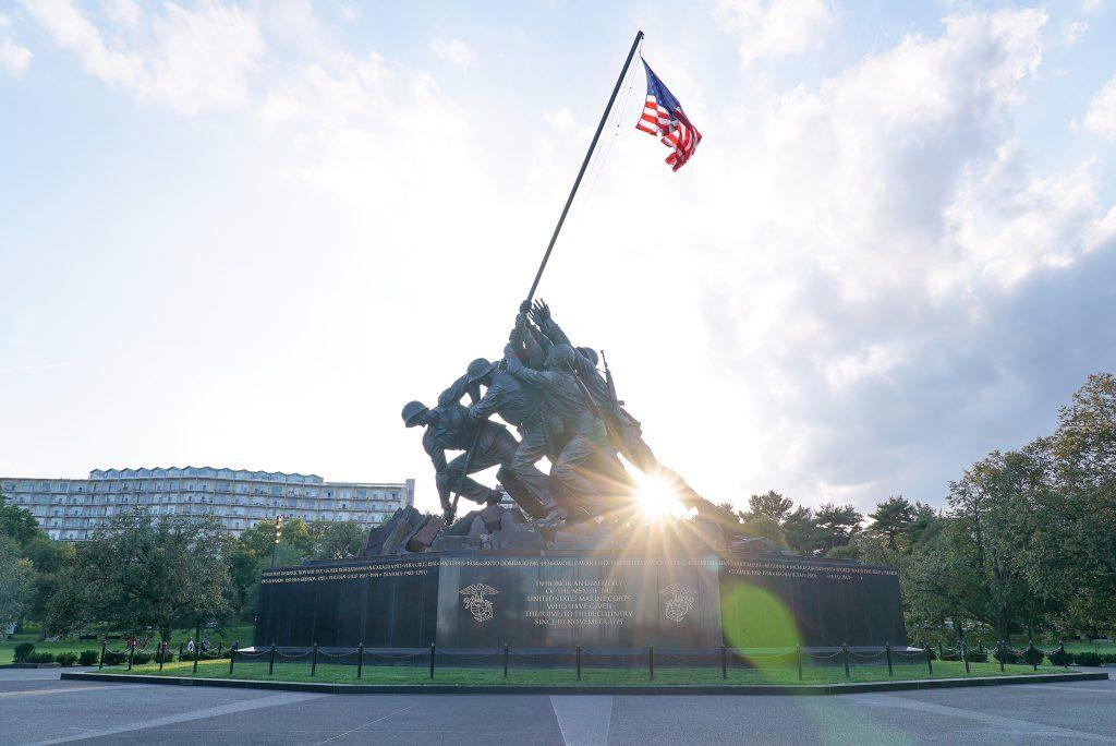 Sunset at the Marine Corps War Memorial