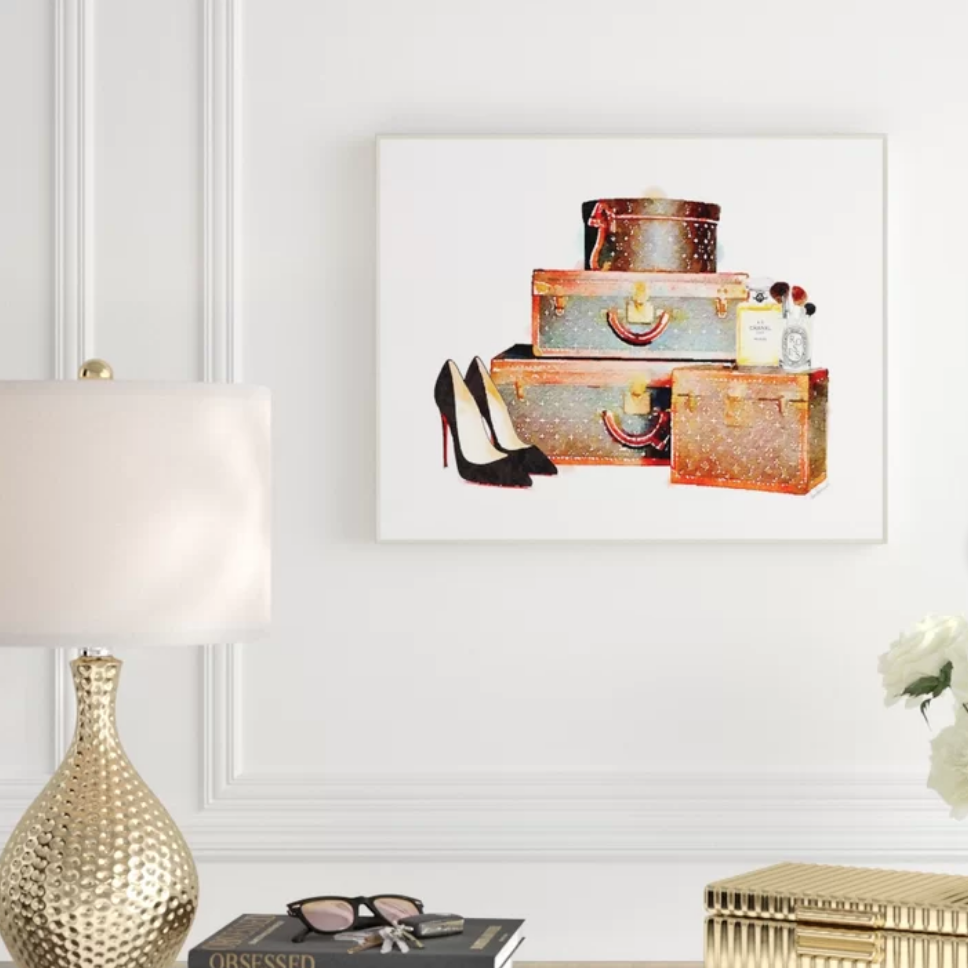 Travel-Themed Home Decor - heels and luggage