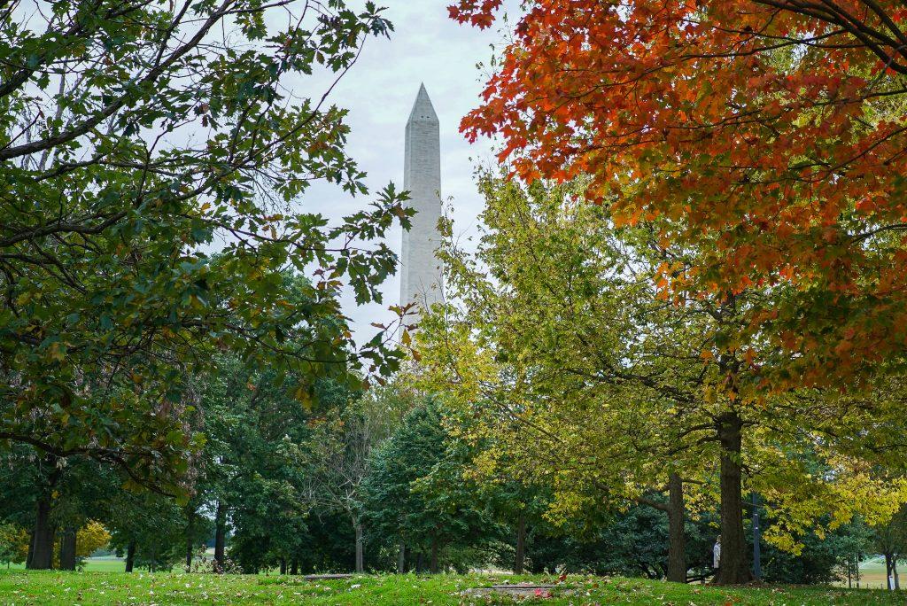 Fall foliage at the Washington Monument National Mall Washington DC