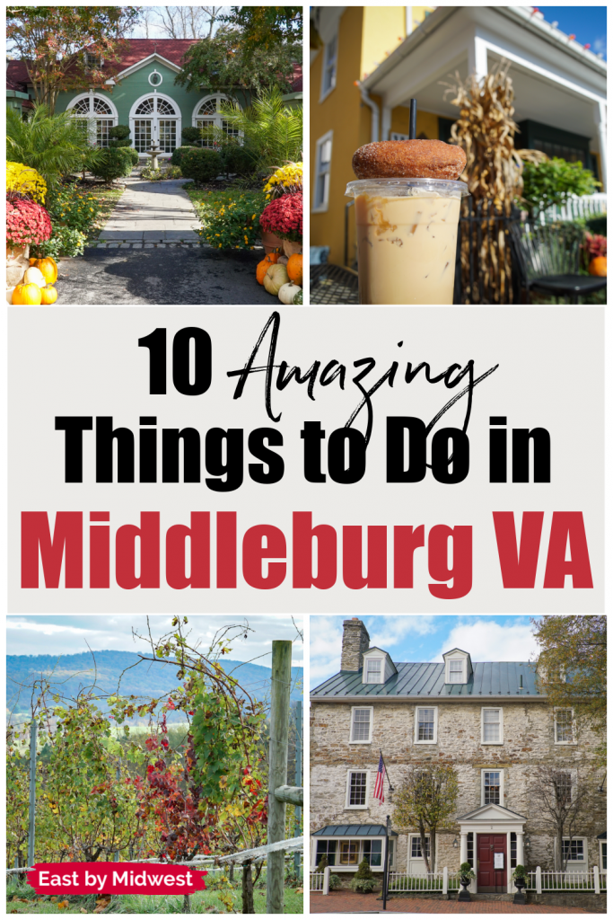 Four pictures of Middleburg Virginia - Two inns, one coffee shop, and one winery