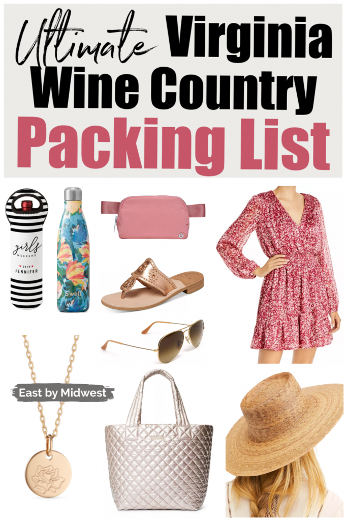 Collage of outfits for What to pack for Virginia wine country