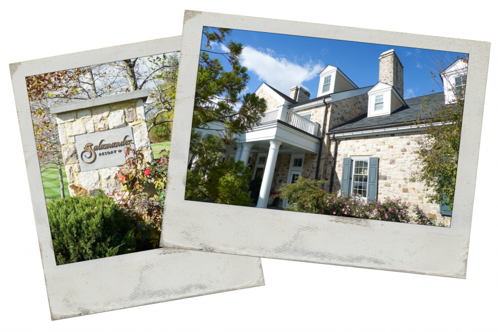 Two pictures - First picture is stone column with the words Salamander Resort and Spa; the second picture is a stone inn with blue sky - one of the best places to stay in Middleburg Virginia