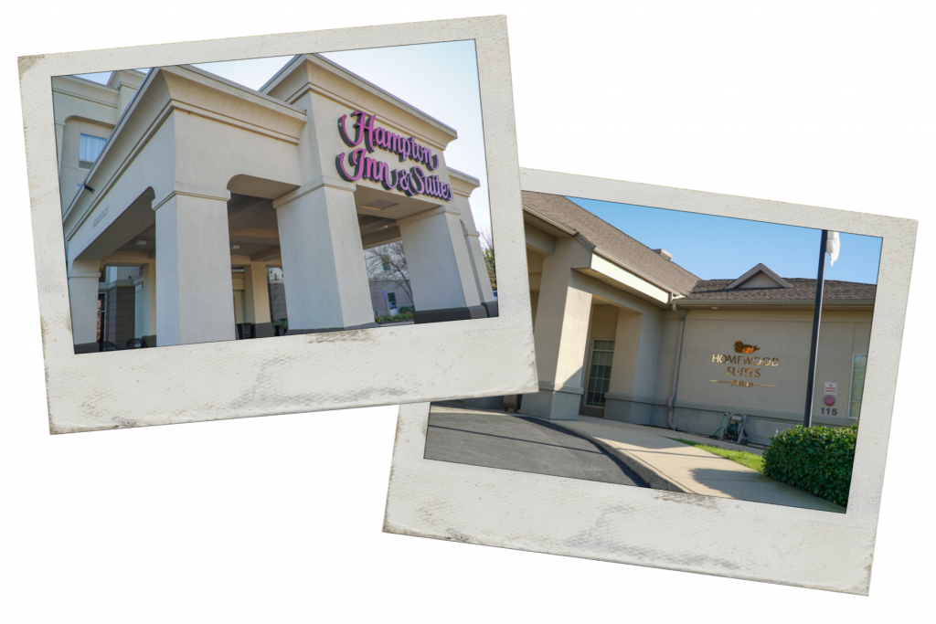 Two pictures of tan hotels