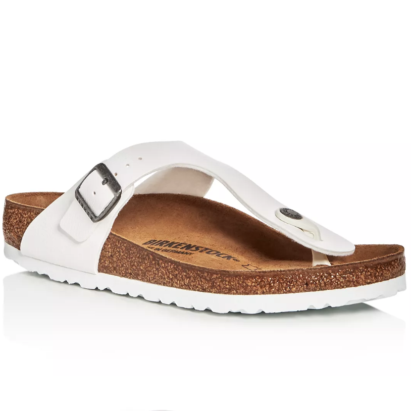 White leather and brown cork sandal