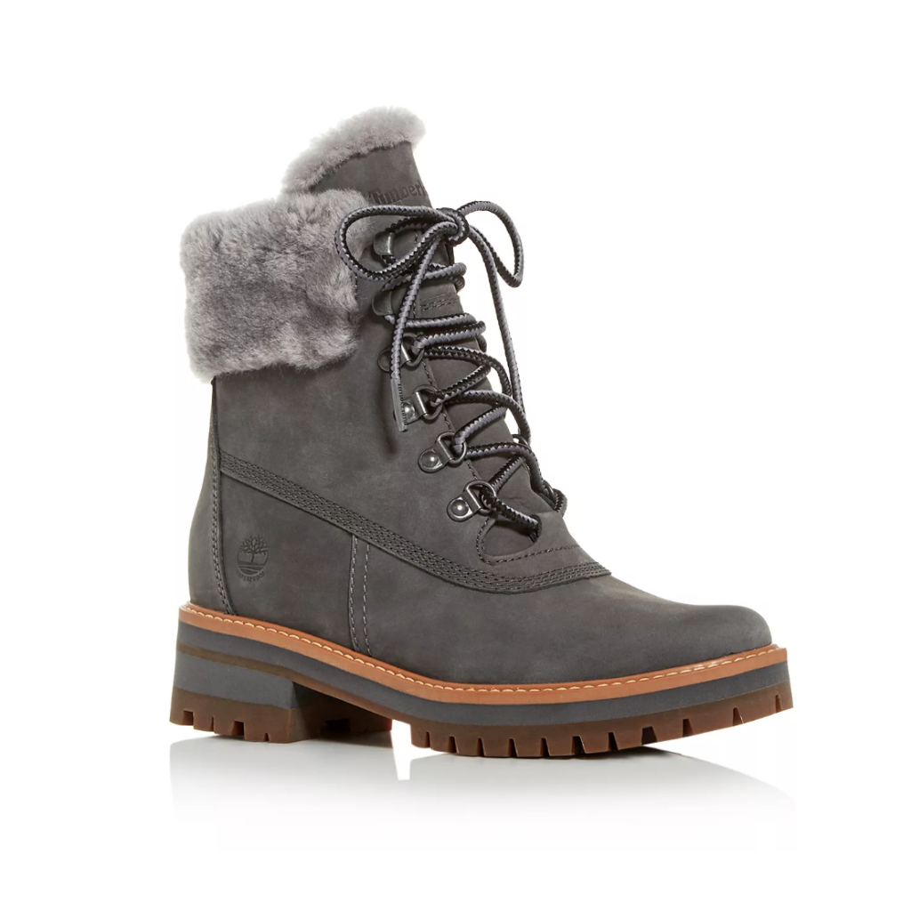 Gray ankle boots with gray fur
