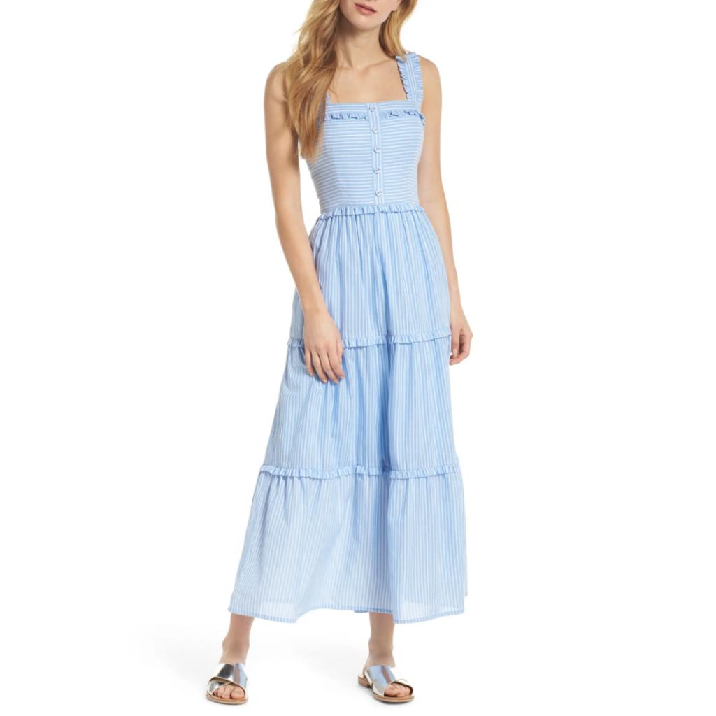 Light blue sleeveless dress - France packing guide