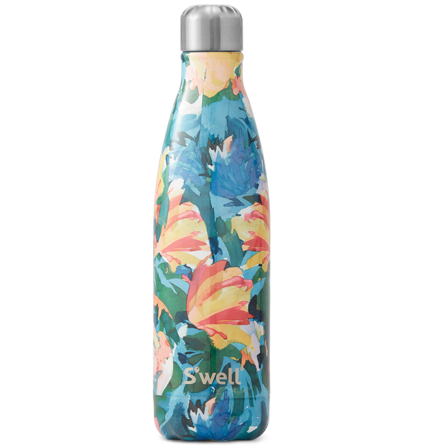 Blue green yellow and pink water bottle