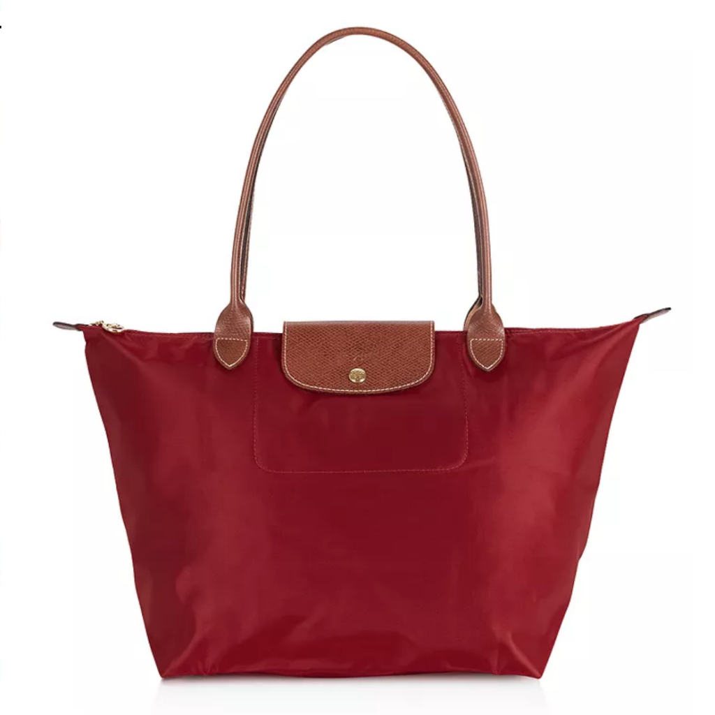 Red tote with brown handles