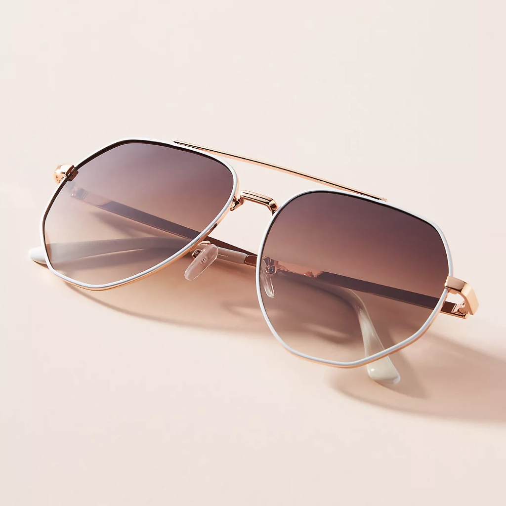 Sunglasses with gold rims