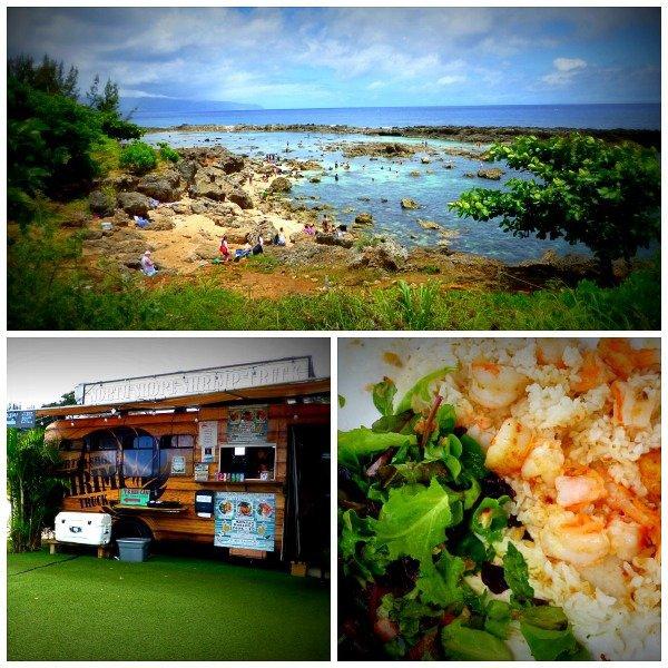 Shrimp and rice, food trucks, and ocean